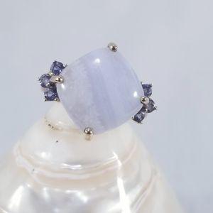Genuine 10k Blue Agate / Iolite Ring  Sz 7